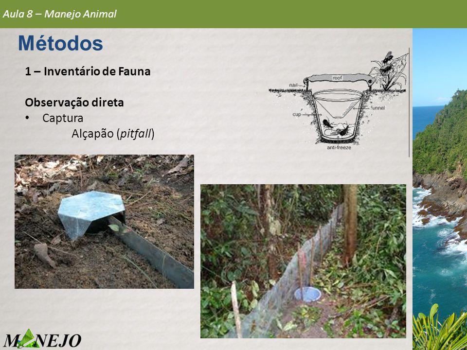 Métodos 1 – Inventário de Fauna Observação direta Captura