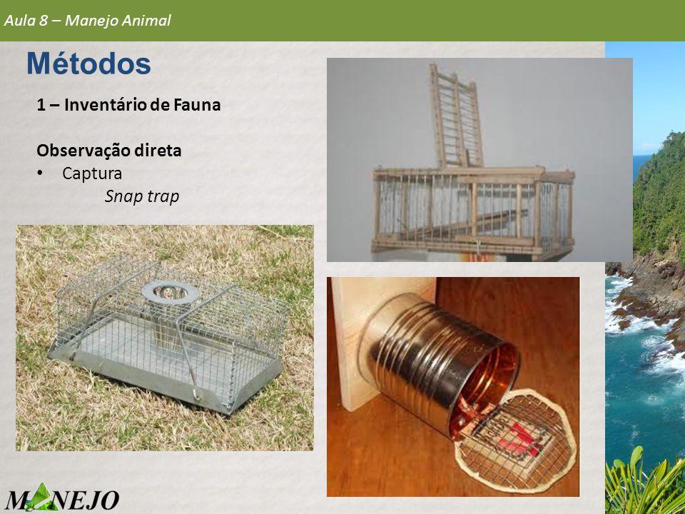 Métodos 1 – Inventário de Fauna Observação direta Captura Snap trap