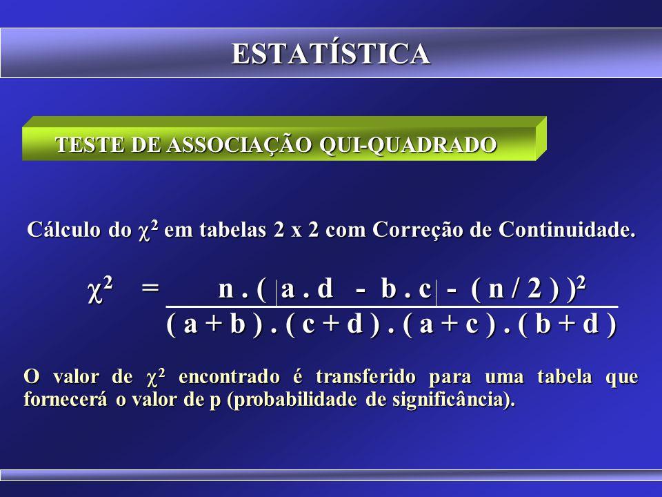 ESTATÍSTICA TESTE DE ASSOCIAÇÃO QUI-QUADRADO. Cálculo do 2 em tabelas 2 x 2 com Correção de Continuidade.