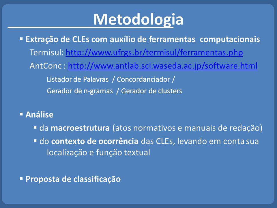 Metodologia Extração de CLEs com auxílio de ferramentas computacionais