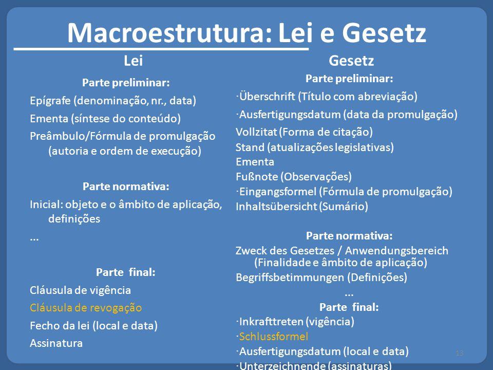 Macroestrutura: Lei e Gesetz