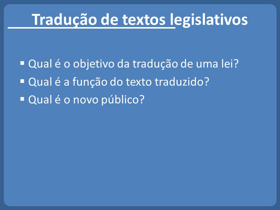 Tradução de textos legislativos