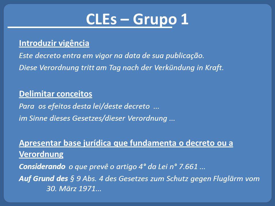 CLEs – Grupo 1 Introduzir vigência Delimitar conceitos