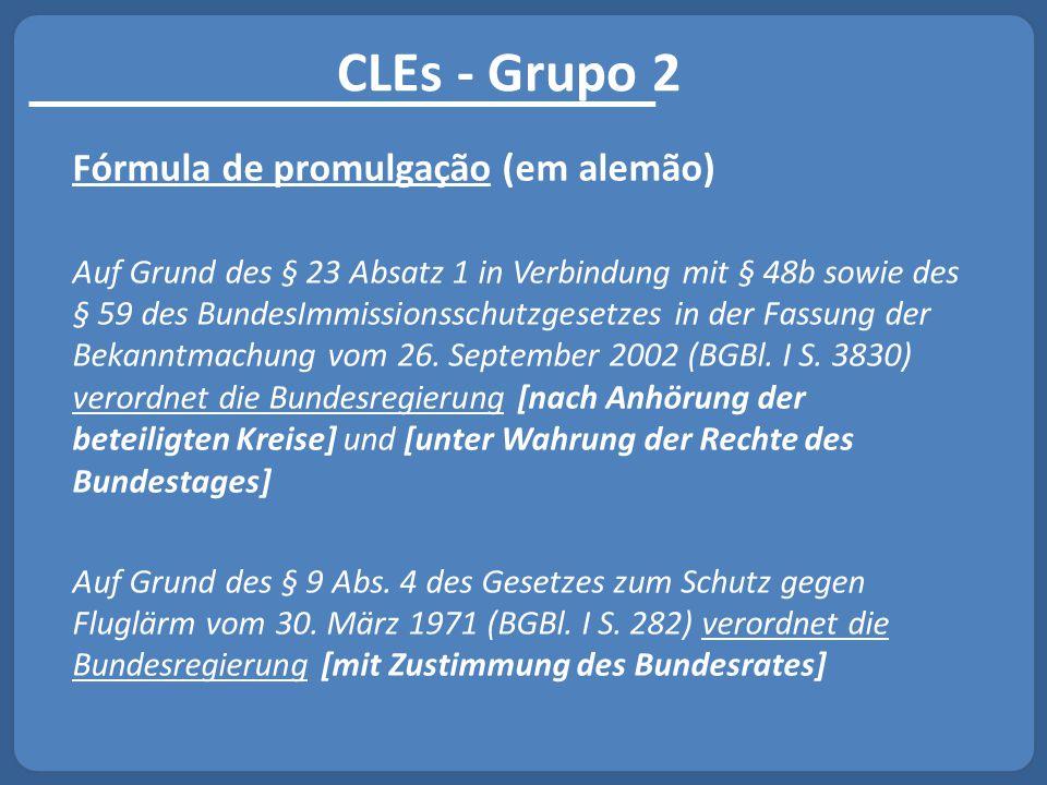 CLEs - Grupo 2 Fórmula de promulgação (em alemão)