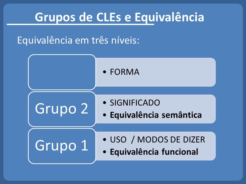 Grupos de CLEs e Equivalência