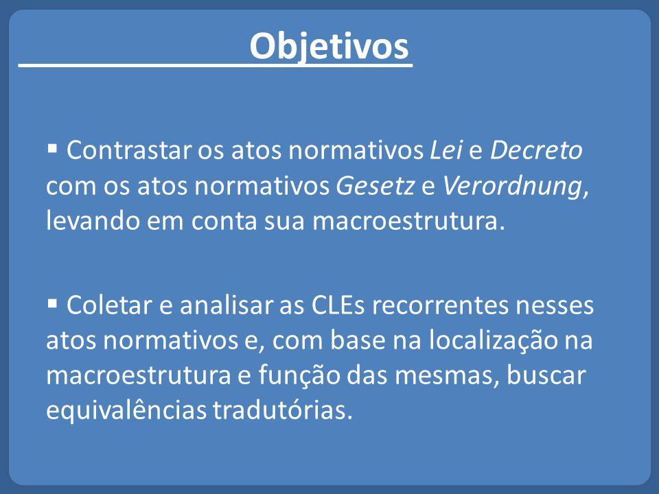 Objetivos Contrastar os atos normativos Lei e Decreto com os atos normativos Gesetz e Verordnung, levando em conta sua macroestrutura.
