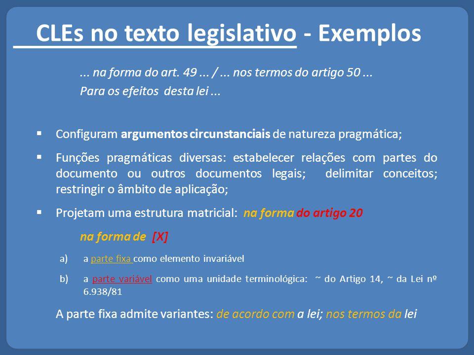 CLEs no texto legislativo - Exemplos