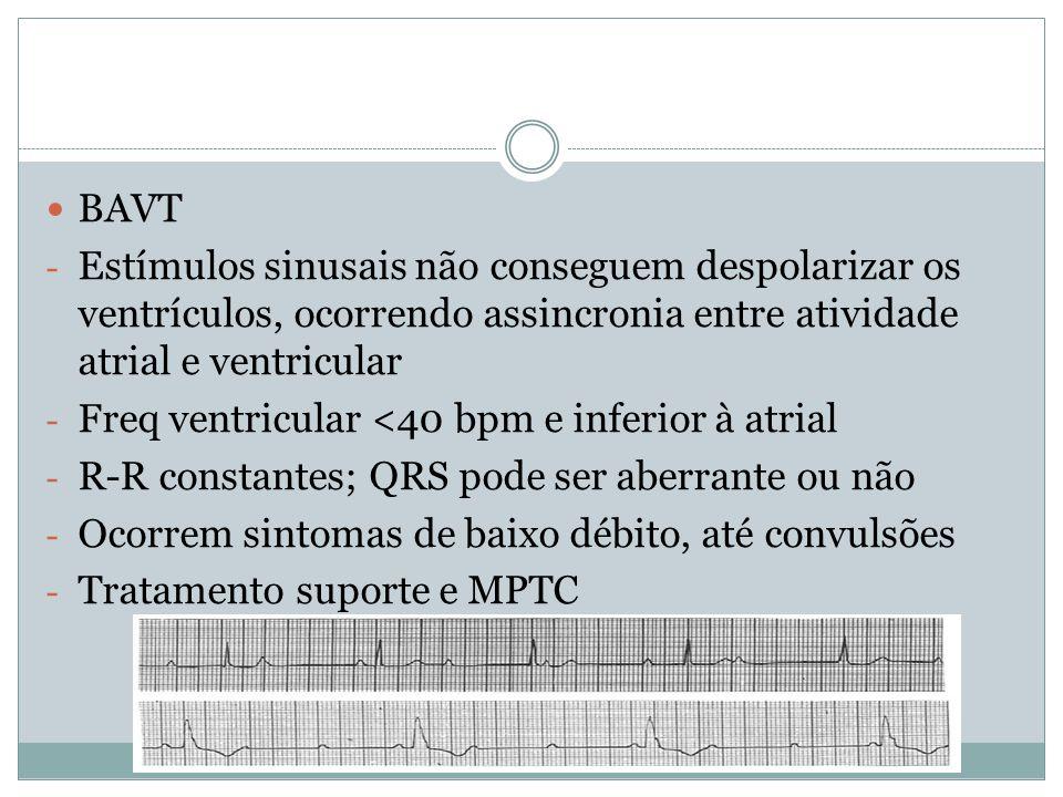 BAVT Estímulos sinusais não conseguem despolarizar os ventrículos, ocorrendo assincronia entre atividade atrial e ventricular.