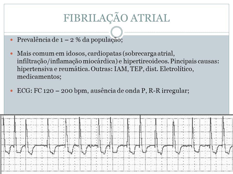 FIBRILAÇÃO ATRIAL Prevalência de 1 – 2 % da população;