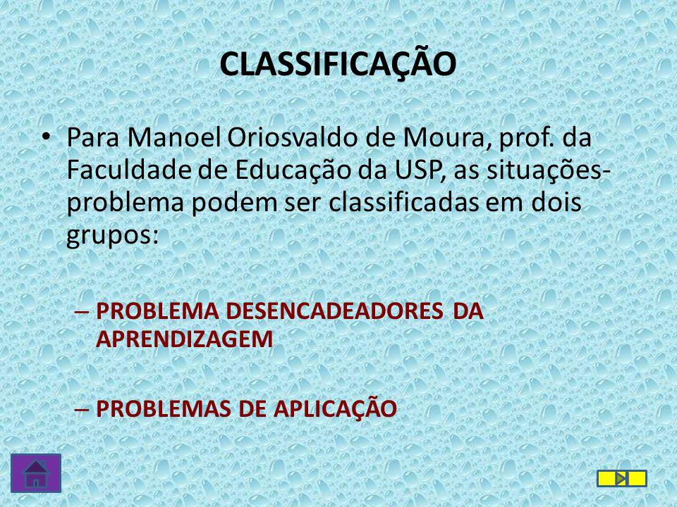 CLASSIFICAÇÃO Para Manoel Oriosvaldo de Moura, prof. da Faculdade de Educação da USP, as situações-problema podem ser classificadas em dois grupos: