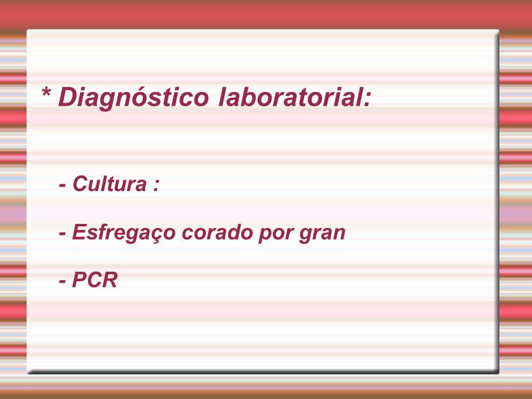 * Diagnóstico laboratorial: - Cultura : - Esfregaço corado por gran - PCR