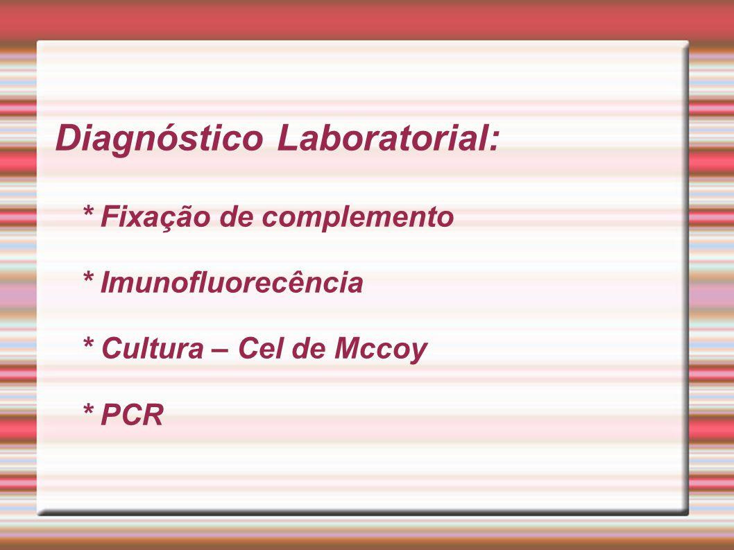 Diagnóstico Laboratorial:. Fixação de complemento. Imunofluorecência