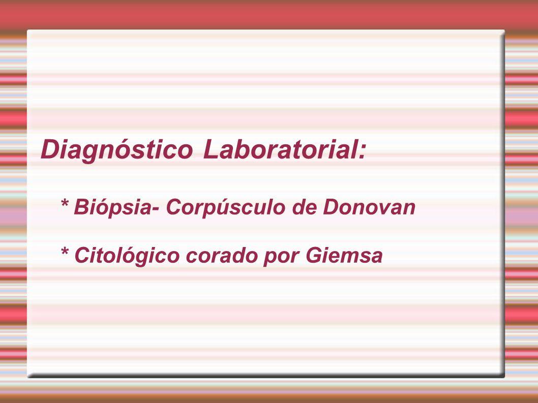Diagnóstico Laboratorial:. Biópsia- Corpúsculo de Donovan