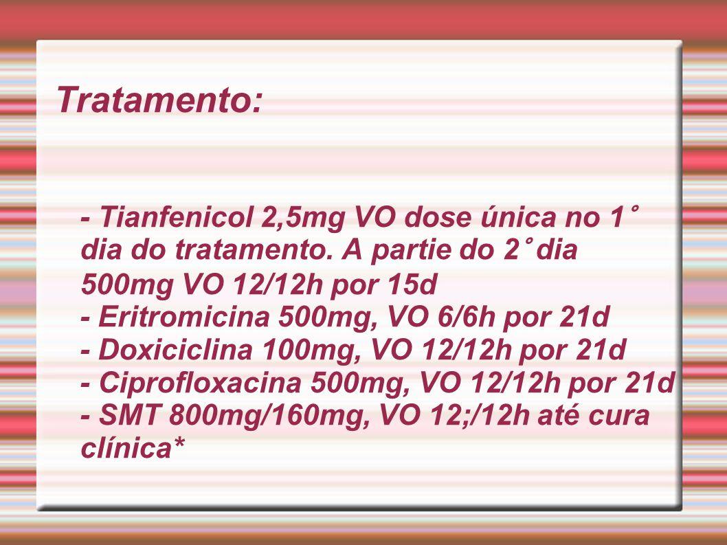 Tratamento: - Tianfenicol 2,5mg VO dose única no 1° dia do tratamento