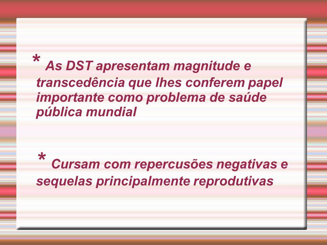 * As DST apresentam magnitude e transcedência que lhes conferem papel importante como problema de saúde pública mundial * Cursam com repercusões negativas e sequelas principalmente reprodutivas