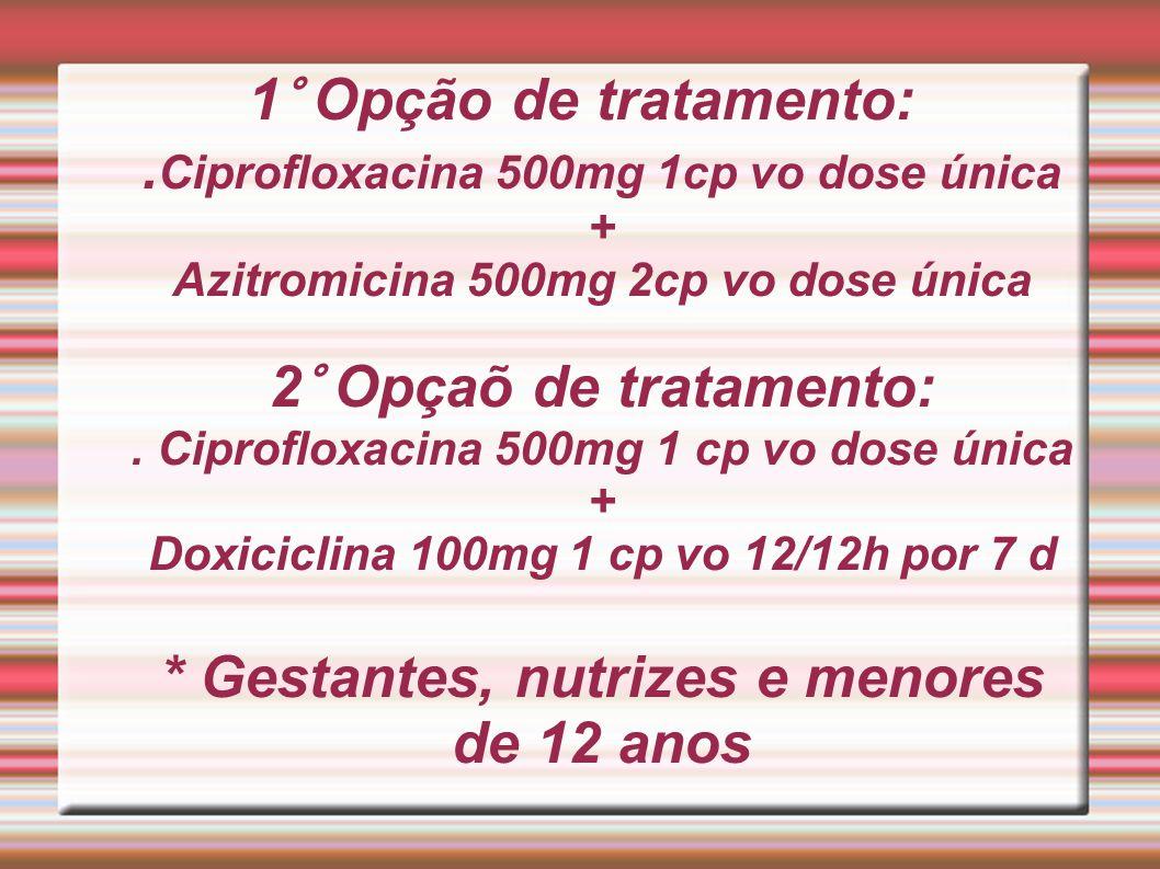 1° Opção de tratamento: .Ciprofloxacina 500mg 1cp vo dose única + Azitromicina 500mg 2cp vo dose única 2° Opçaõ de tratamento: .