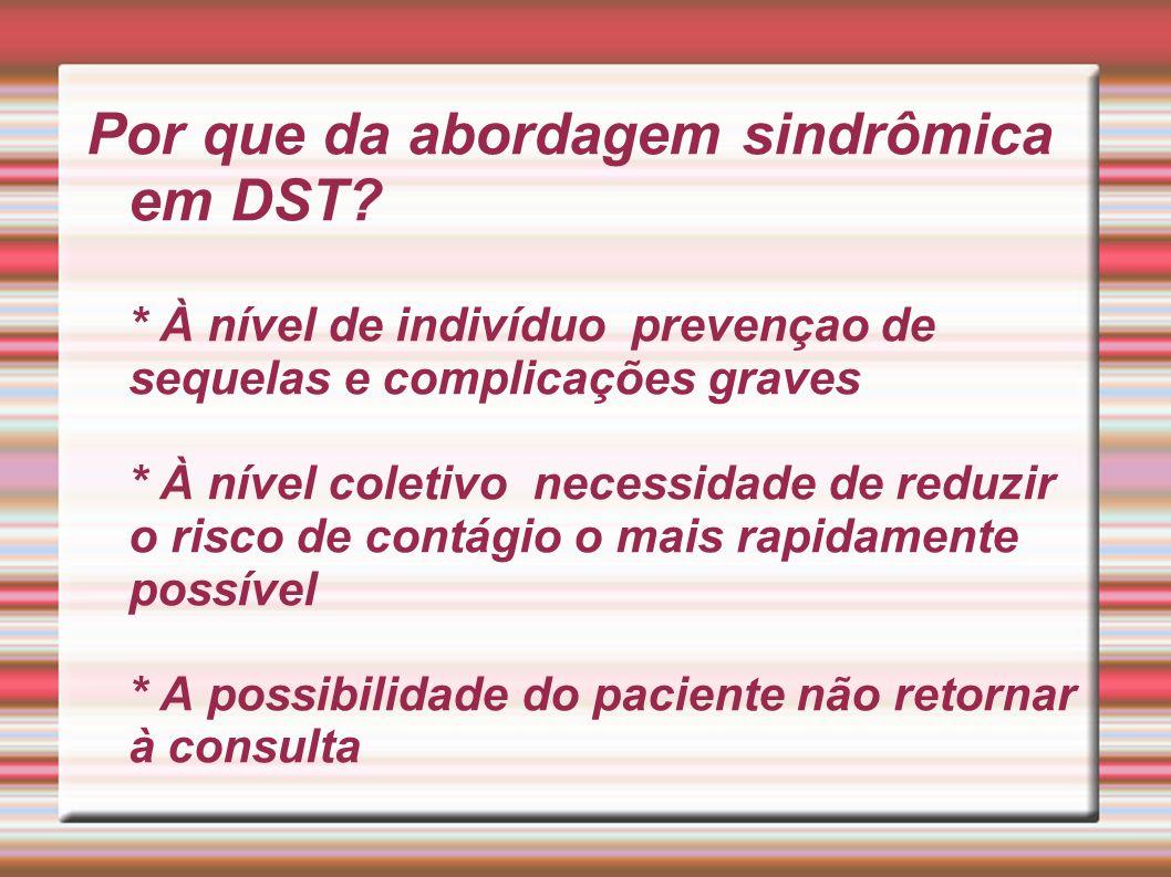 Por que da abordagem sindrômica em DST