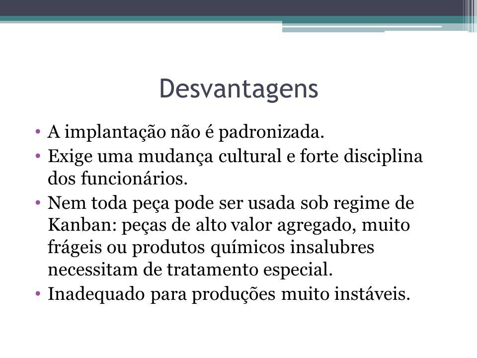 Desvantagens A implantação não é padronizada.