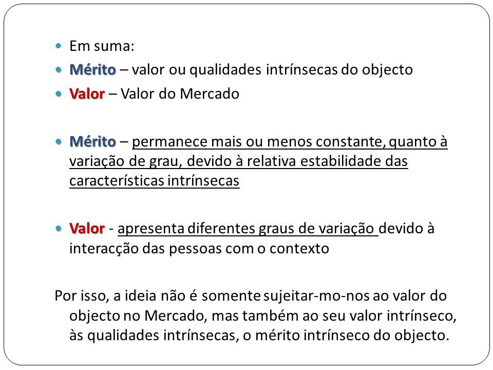 Em suma: Mérito – valor ou qualidades intrínsecas do objecto. Valor – Valor do Mercado.