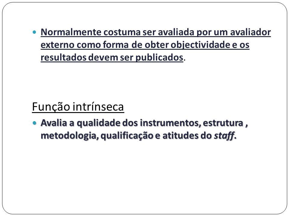 Normalmente costuma ser avaliada por um avaliador externo como forma de obter objectividade e os resultados devem ser publicados.
