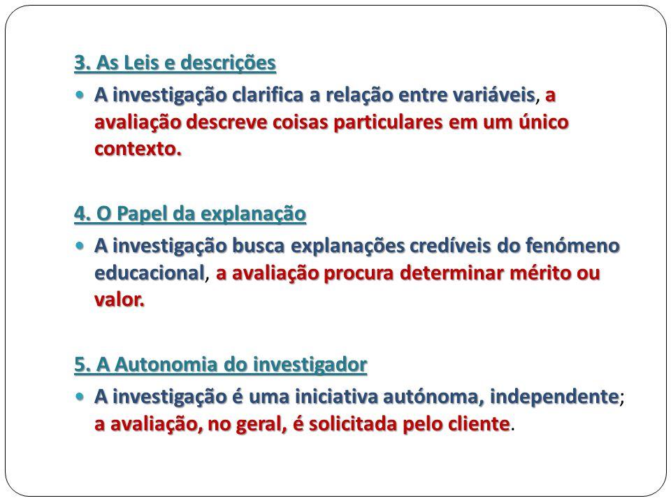 3. As Leis e descrições A investigação clarifica a relação entre variáveis, a avaliação descreve coisas particulares em um único contexto.