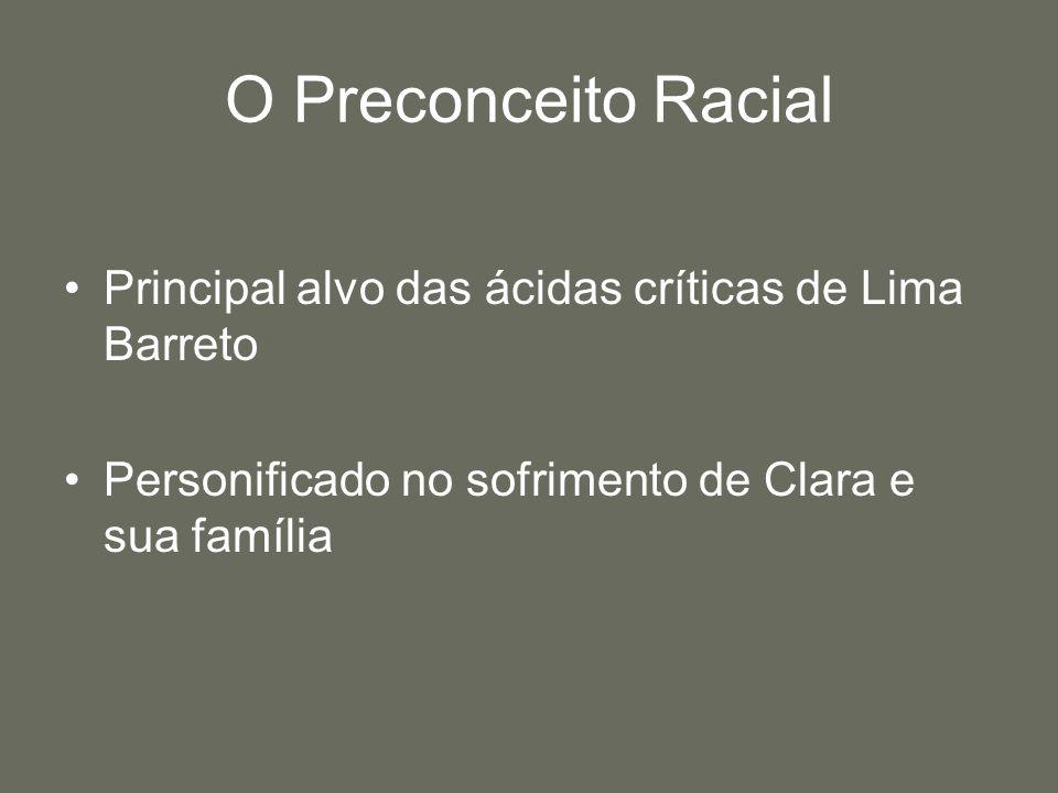 O Preconceito Racial Principal alvo das ácidas críticas de Lima Barreto.