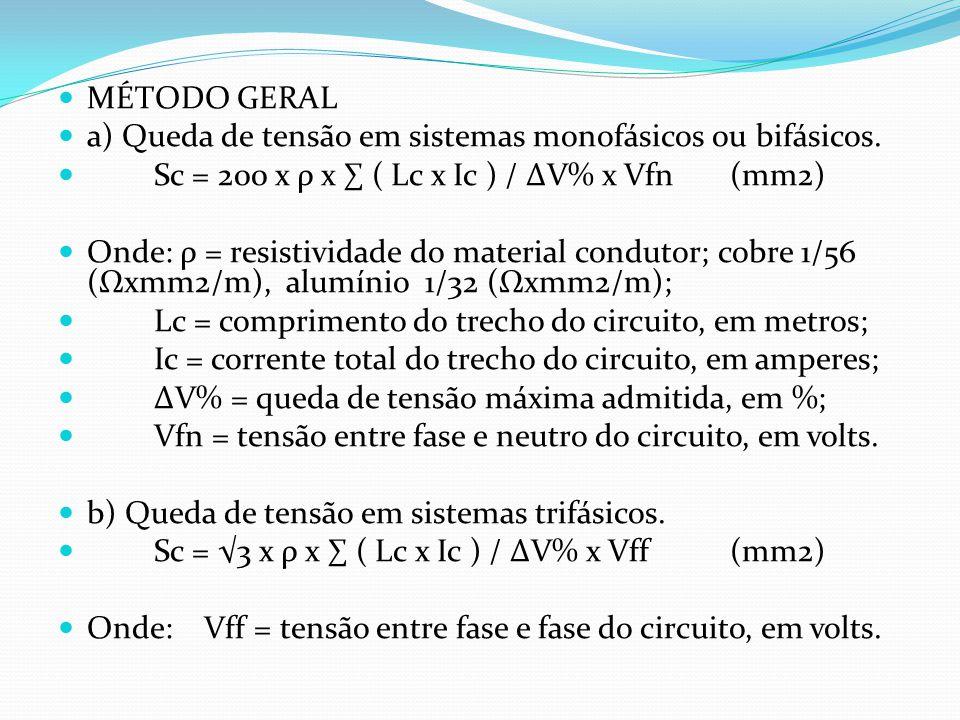 MÉTODO GERAL a) Queda de tensão em sistemas monofásicos ou bifásicos. Sc = 200 x ρ x ∑ ( Lc x Ic ) / ∆V% x Vfn (mm2)