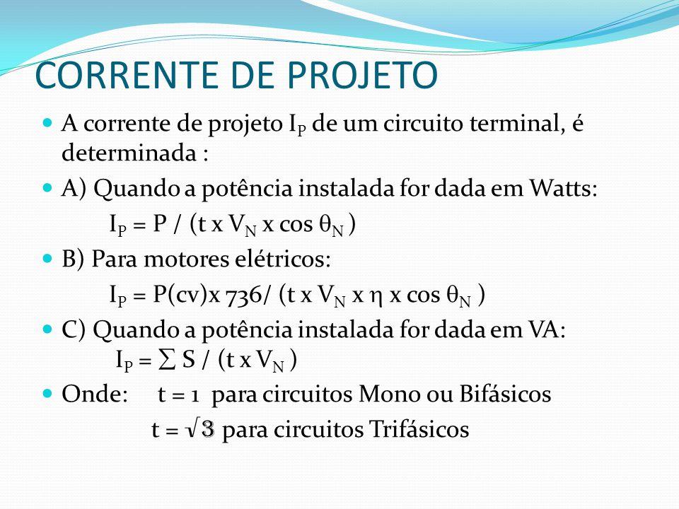 CORRENTE DE PROJETO A corrente de projeto IP de um circuito terminal, é determinada : A) Quando a potência instalada for dada em Watts:
