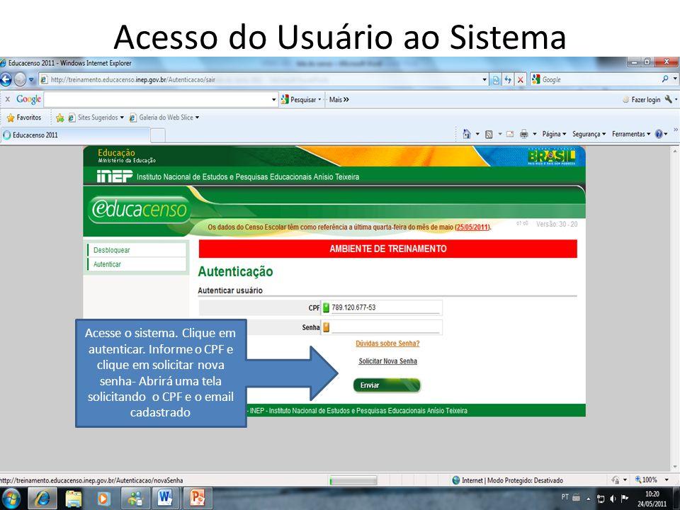 Acesso do Usuário ao Sistema