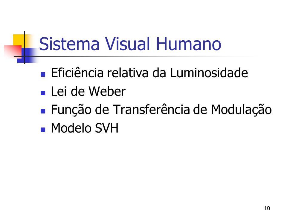 Sistema Visual Humano Eficiência relativa da Luminosidade Lei de Weber