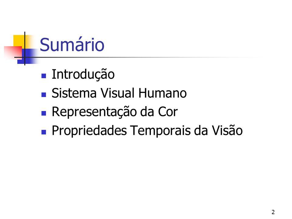 Sumário Introdução Sistema Visual Humano Representação da Cor