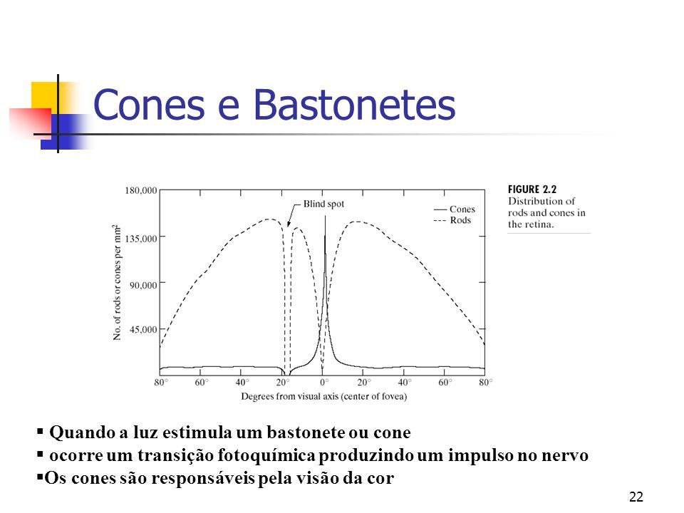Cones e Bastonetes Quando a luz estimula um bastonete ou cone
