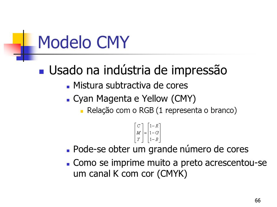 Modelo CMY Usado na indústria de impressão
