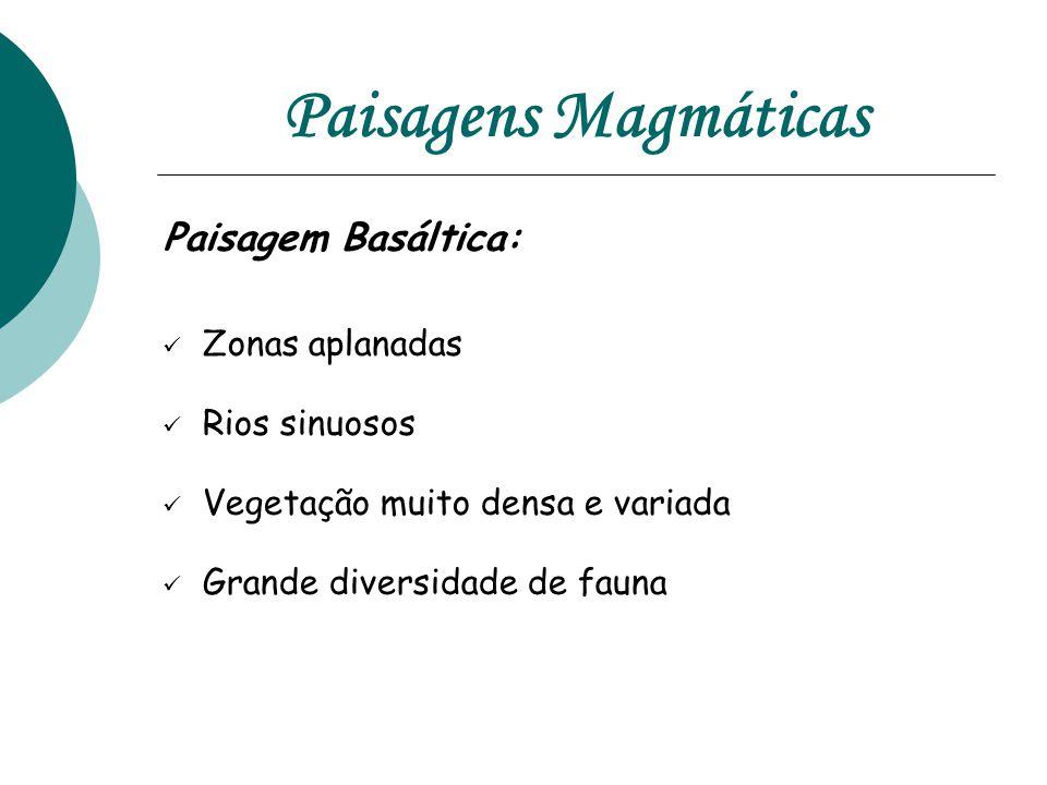 Paisagens Magmáticas Paisagem Basáltica: Zonas aplanadas Rios sinuosos
