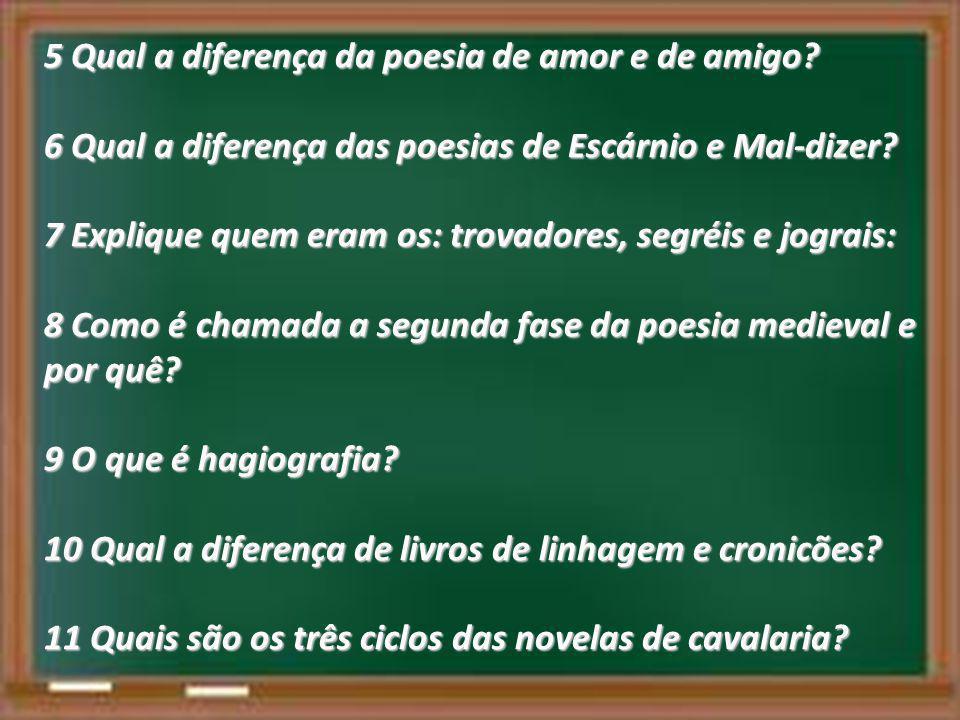 5 Qual a diferença da poesia de amor e de amigo