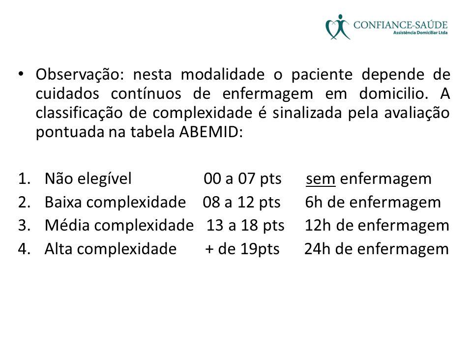 Observação: nesta modalidade o paciente depende de cuidados contínuos de enfermagem em domicilio. A classificação de complexidade é sinalizada pela avaliação pontuada na tabela ABEMID: