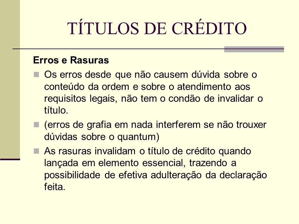 TÍTULOS DE CRÉDITO Erros e Rasuras