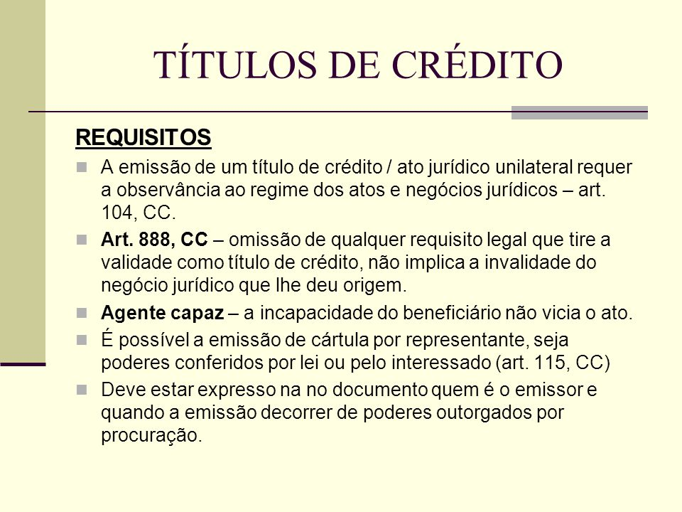 TÍTULOS DE CRÉDITO REQUISITOS