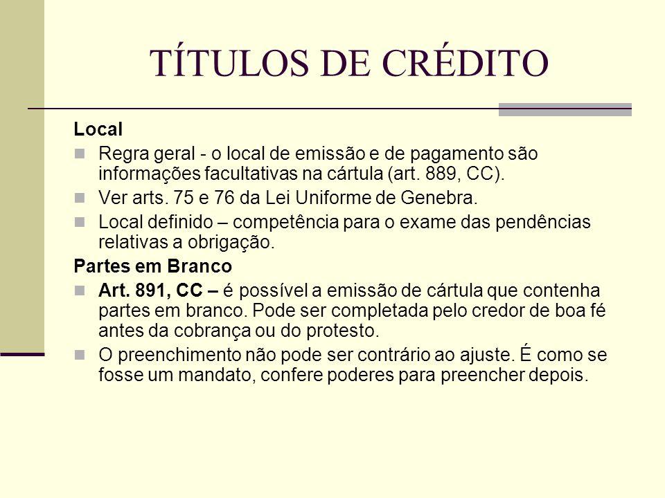 TÍTULOS DE CRÉDITO Local