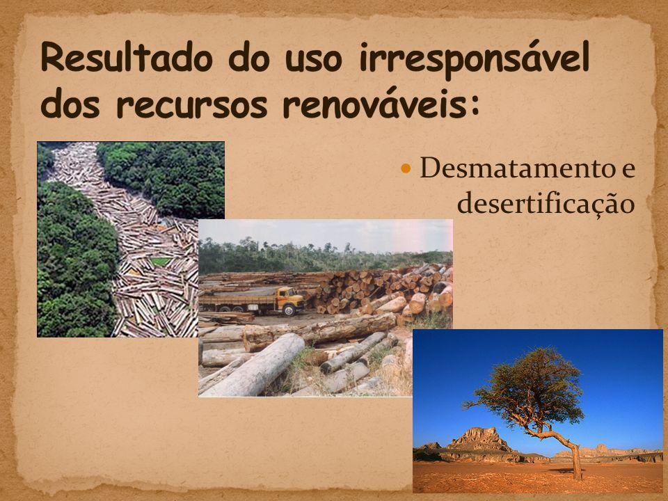 Resultado do uso irresponsável dos recursos renováveis:
