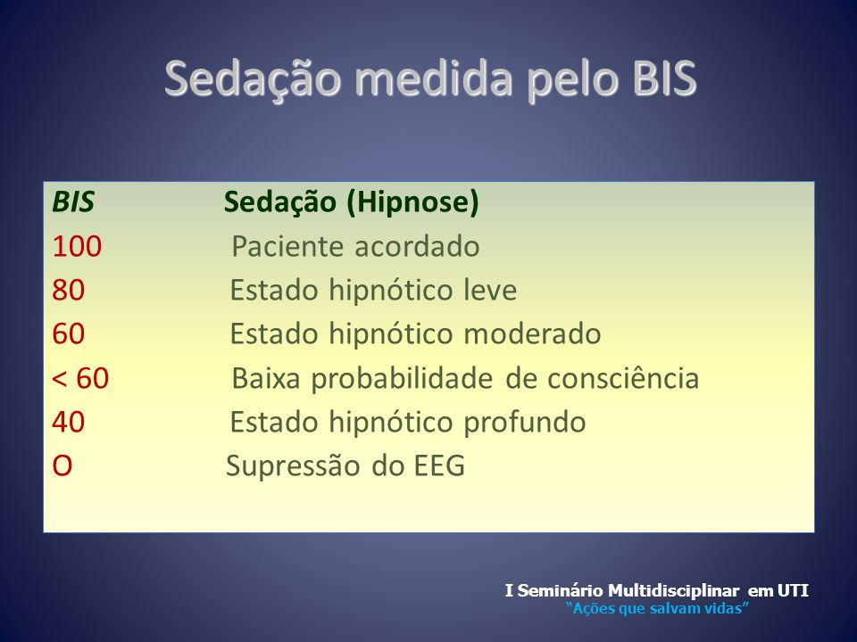 Sedação medida pelo BIS