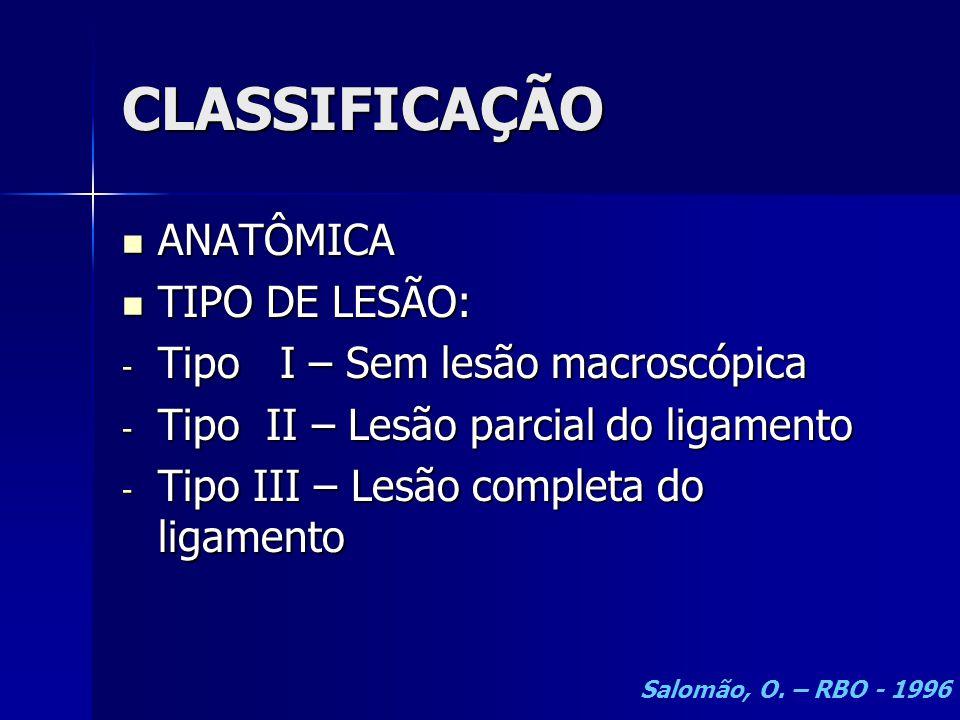 CLASSIFICAÇÃO ANATÔMICA TIPO DE LESÃO: Tipo I – Sem lesão macroscópica
