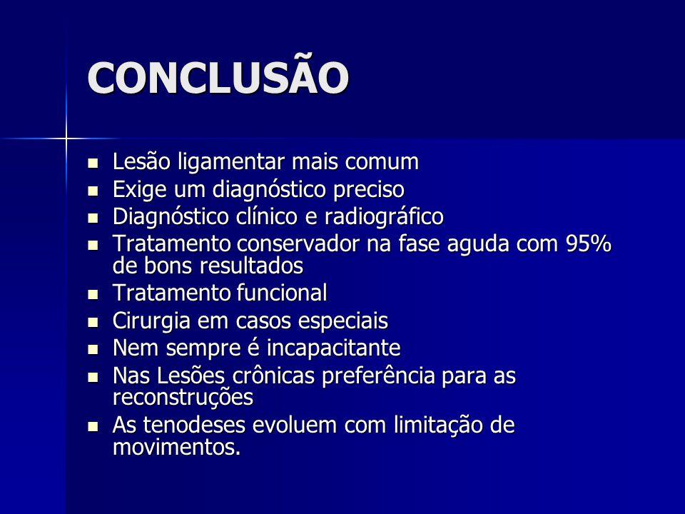 CONCLUSÃO Lesão ligamentar mais comum Exige um diagnóstico preciso