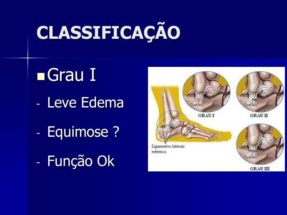 CLASSIFICAÇÃO Grau I Leve Edema Equimose Função Ok