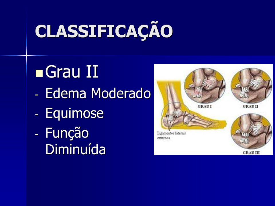 CLASSIFICAÇÃO Grau II Edema Moderado Equimose Função Diminuída