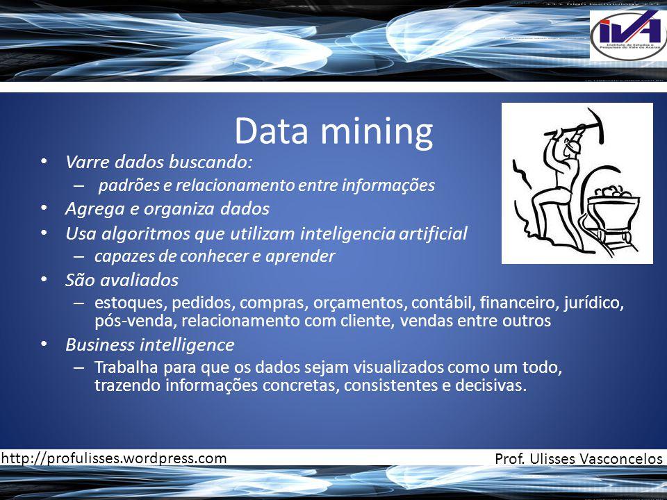 Data mining Varre dados buscando: Agrega e organiza dados