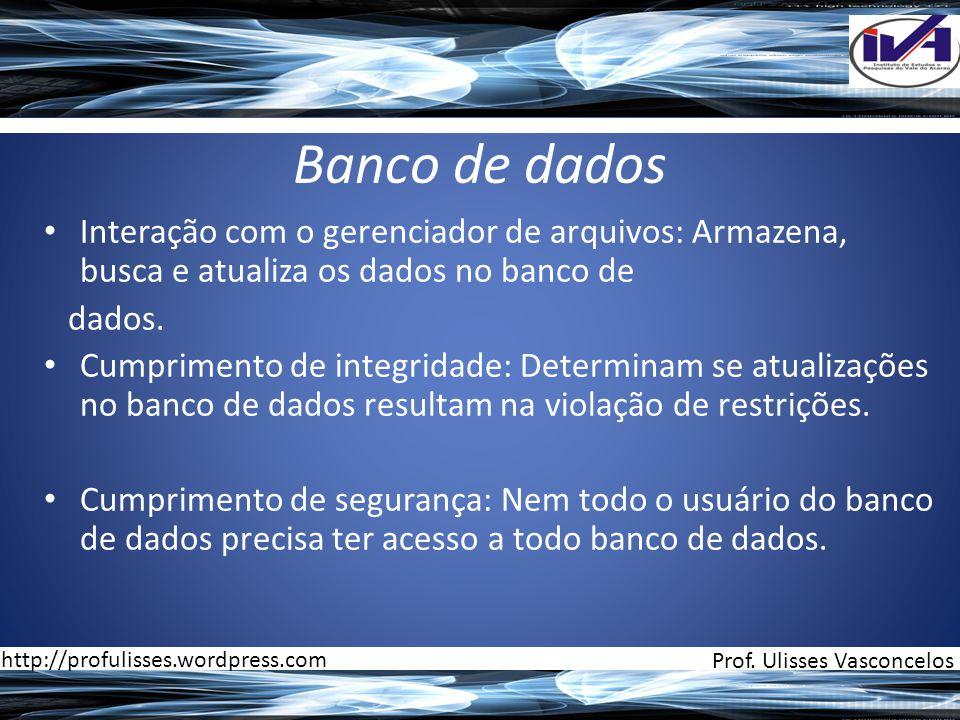 Banco de dados Interação com o gerenciador de arquivos: Armazena, busca e atualiza os dados no banco de.