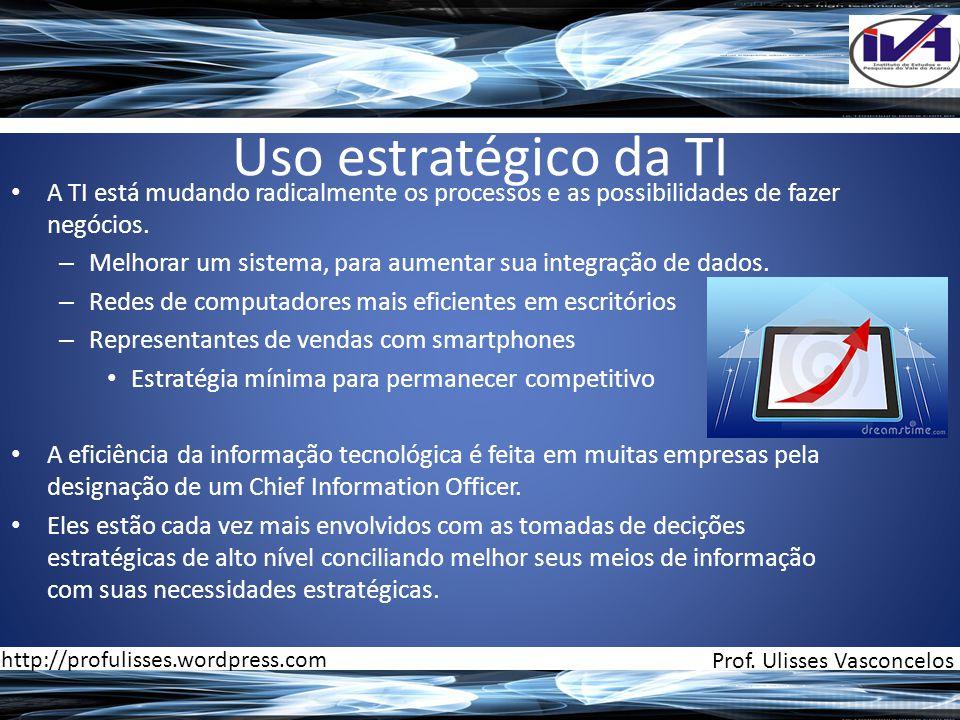 Uso estratégico da TI A TI está mudando radicalmente os processos e as possibilidades de fazer negócios.