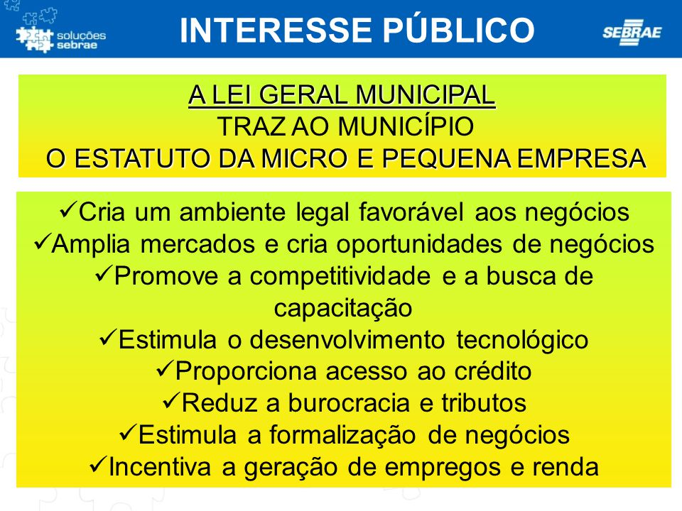 INTERESSE PÚBLICO A LEI GERAL MUNICIPAL TRAZ AO MUNICÍPIO