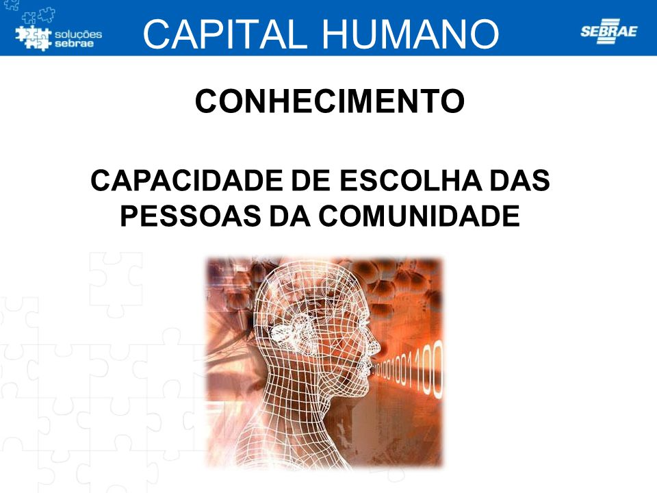 CAPACIDADE DE ESCOLHA DAS PESSOAS DA COMUNIDADE